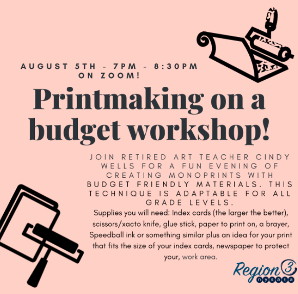 R3 2020 Printmaking on a Budget flyer